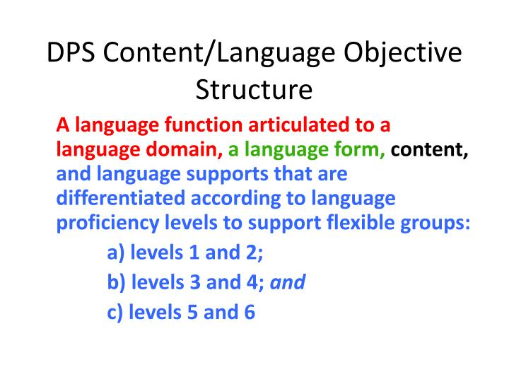 DPS Content/Language Objective Structure