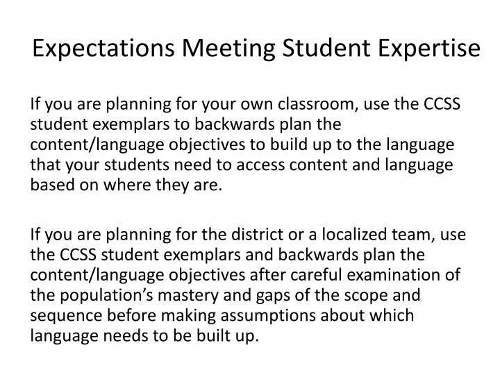Expectations Meeting Student Expertise