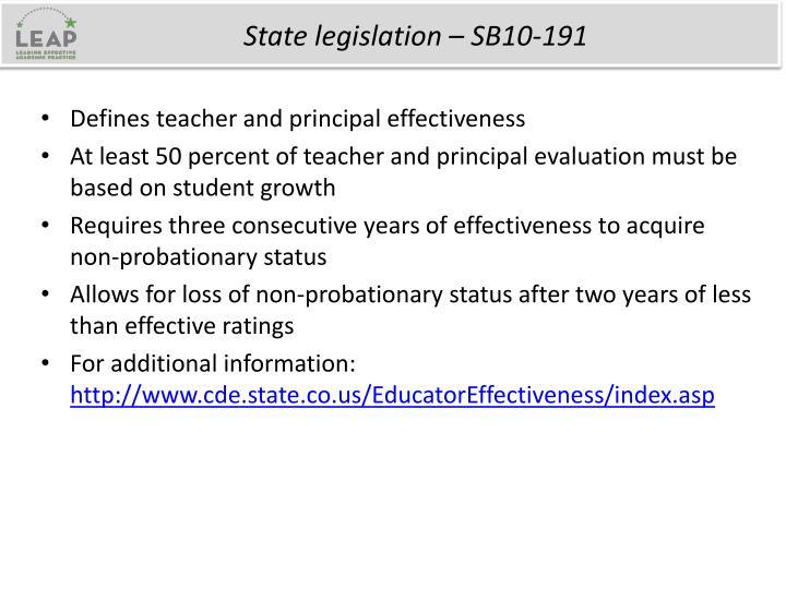 State legislation – SB10-191