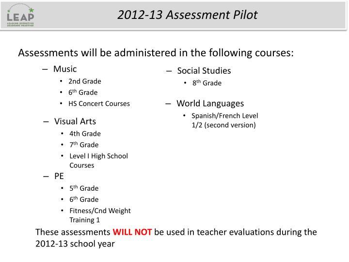 2012-13 Assessment Pilot