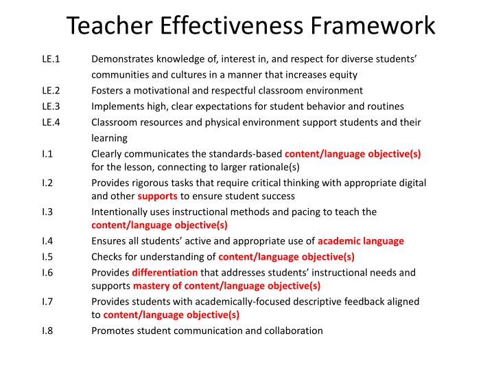 Teacher Effectiveness Framework