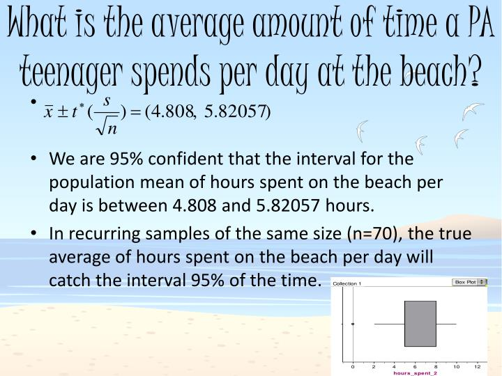 What is the average amount of time a PA teenager spends per day at the beach?