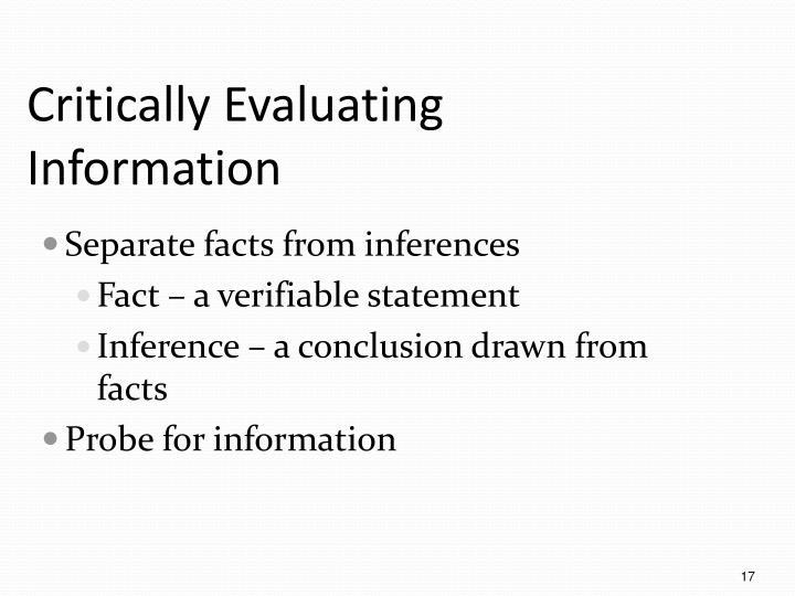 Critically Evaluating