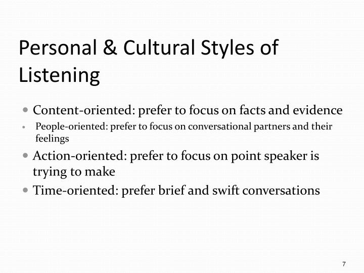Personal & Cultural Styles of Listening