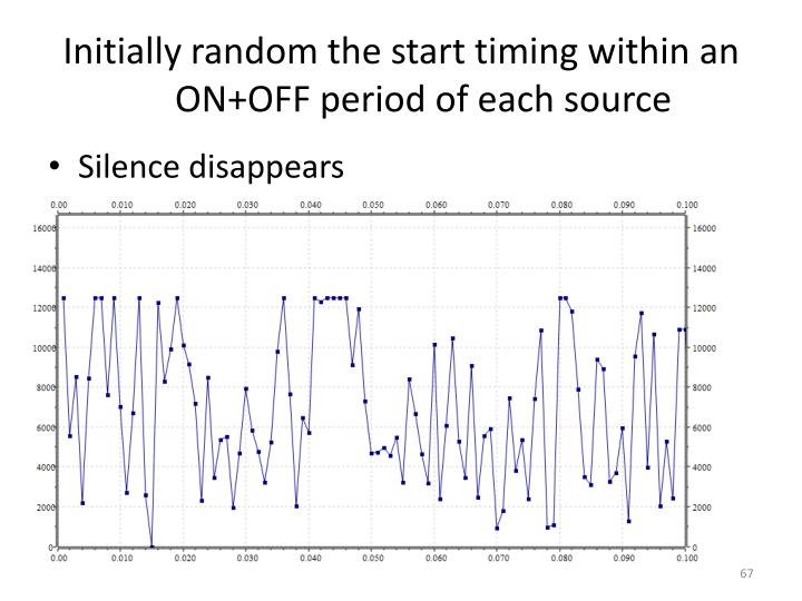 Initially random the start timing within an ON+OFF period of each source