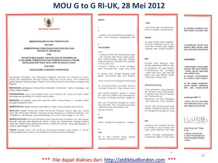 MOU G to G RI-UK, 28 Mei 2012