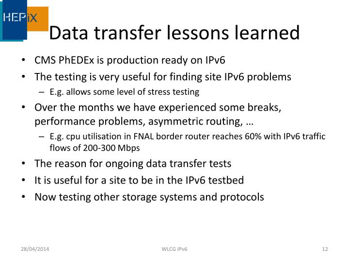 Data transfer lessons learned