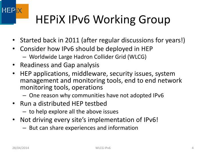HEPiX IPv6 Working Group