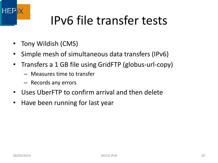 IPv6 file transfer tests