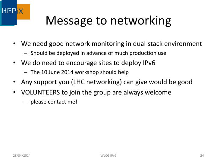 Message to networking
