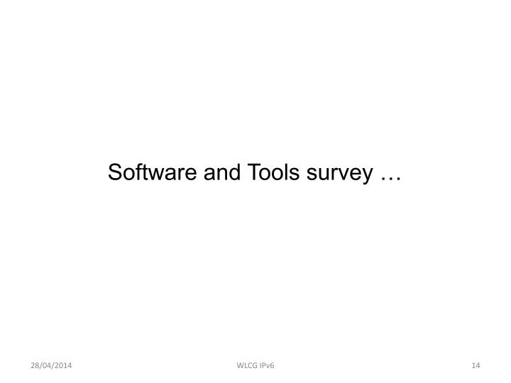 Software and Tools survey …