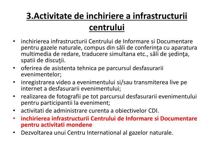 3.Activitate de inchiriere a infrastructurii centrului