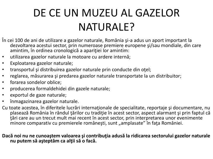 DE CE UN MUZEU AL GAZELOR NATURALE?