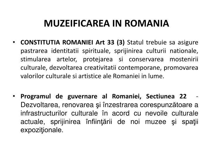 MUZEIFICAREA IN ROMANIA