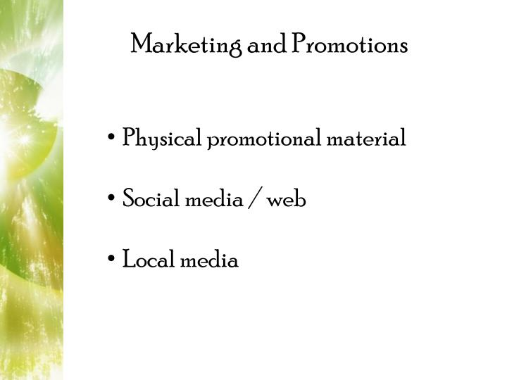 Marketing and Promotions