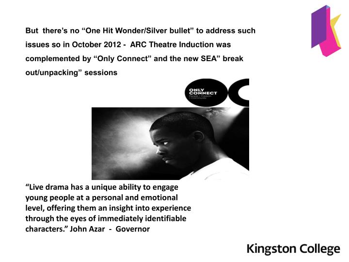 "But  there's no ""One Hit Wonder/Silver bullet"" to address such issues so in October 2012 -  ARC Theatre Induction was complemented by ""Only Connect"" and the new SEA"" break out/unpacking"" sessions"