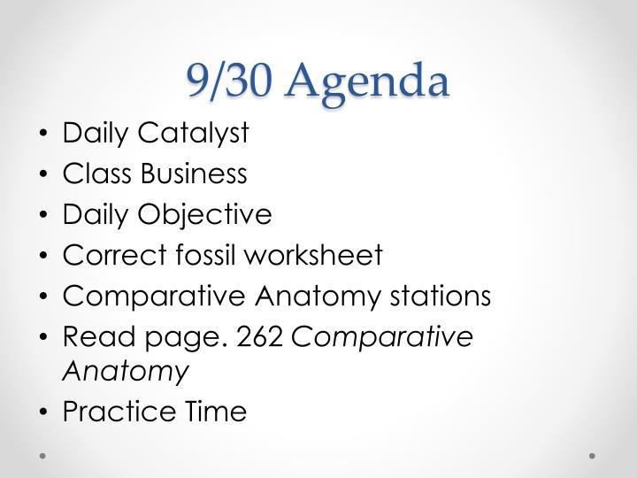 9/30 Agenda