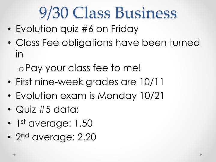 9/30 Class Business