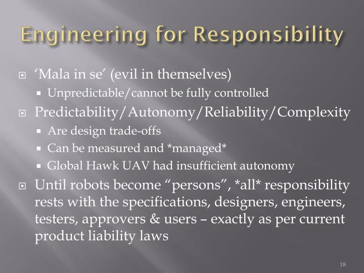 Engineering for Responsibility