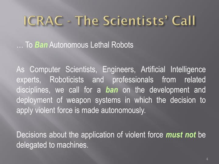 ICRAC - The Scientists' Call
