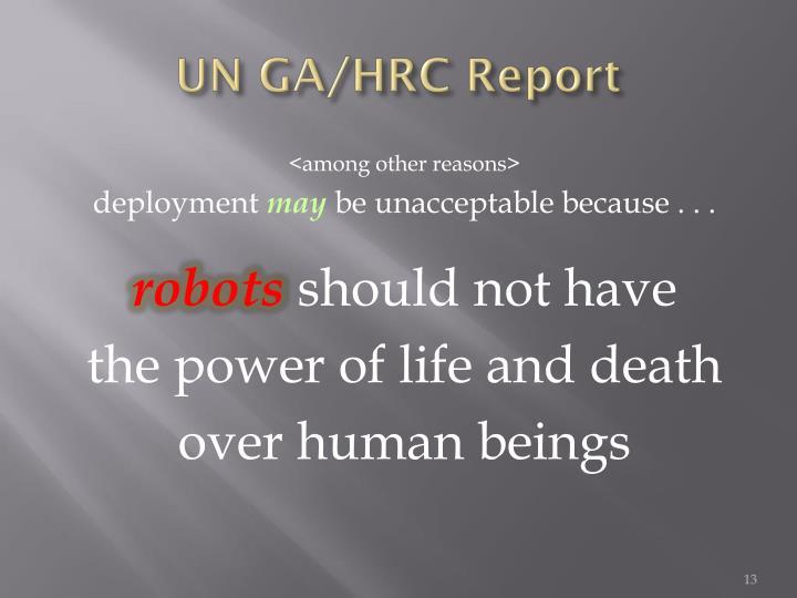 UN GA/HRC Report