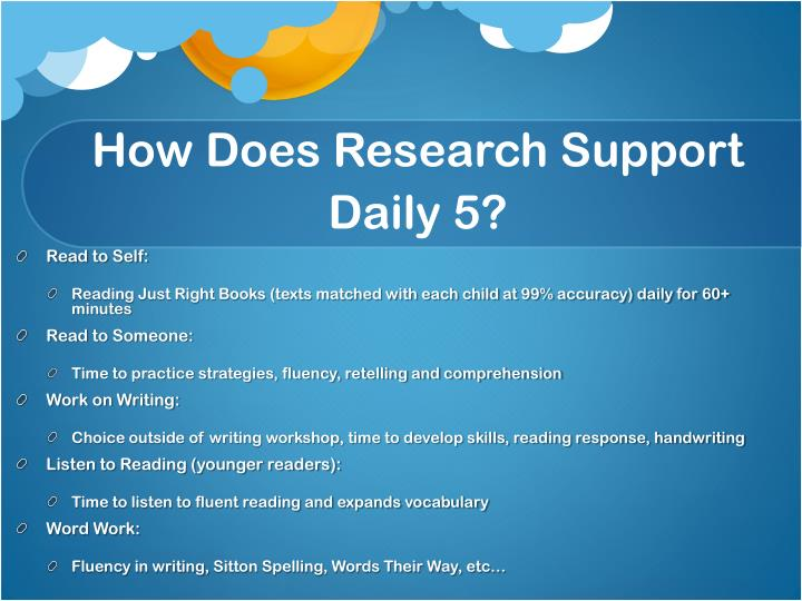How Does Research Support Daily 5?