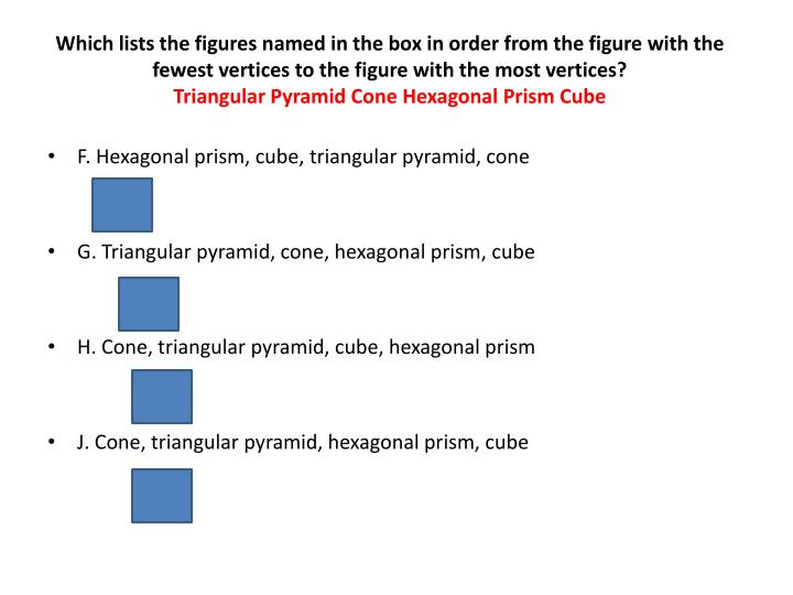 Which lists the figures named in the box in order from the figure with the fewest vertices to the figure with the most vertices?