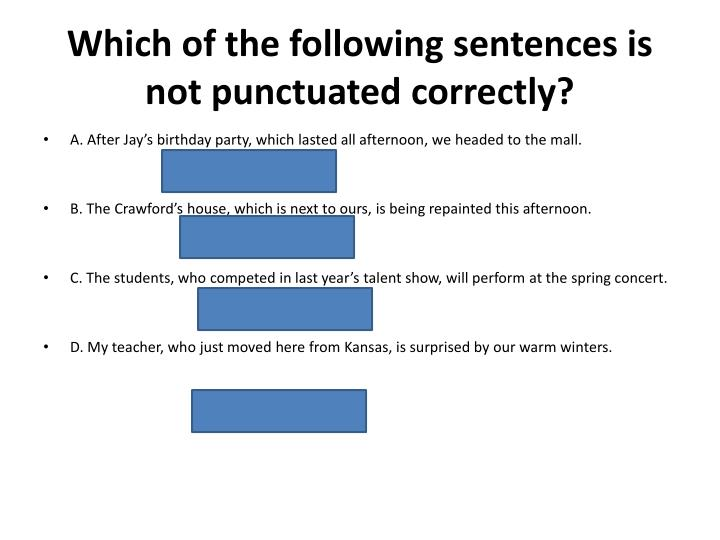 Which of the following sentences is