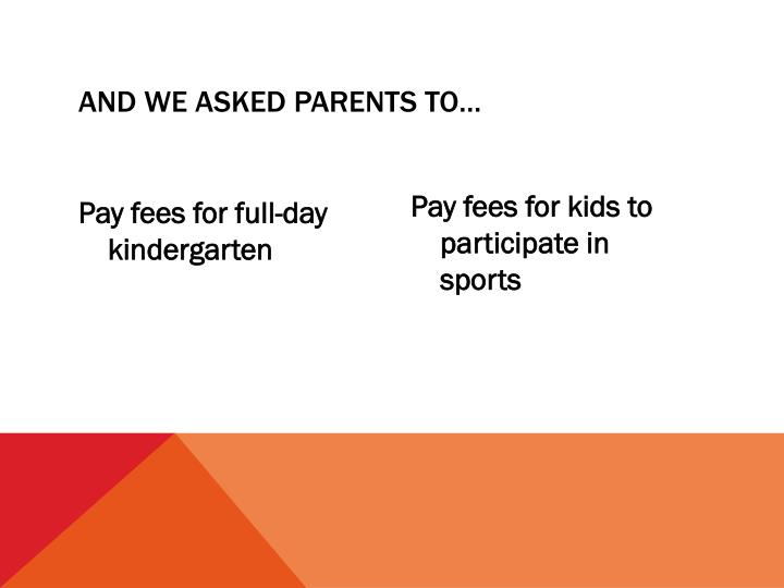 AND WE ASKED PARENTS TO…