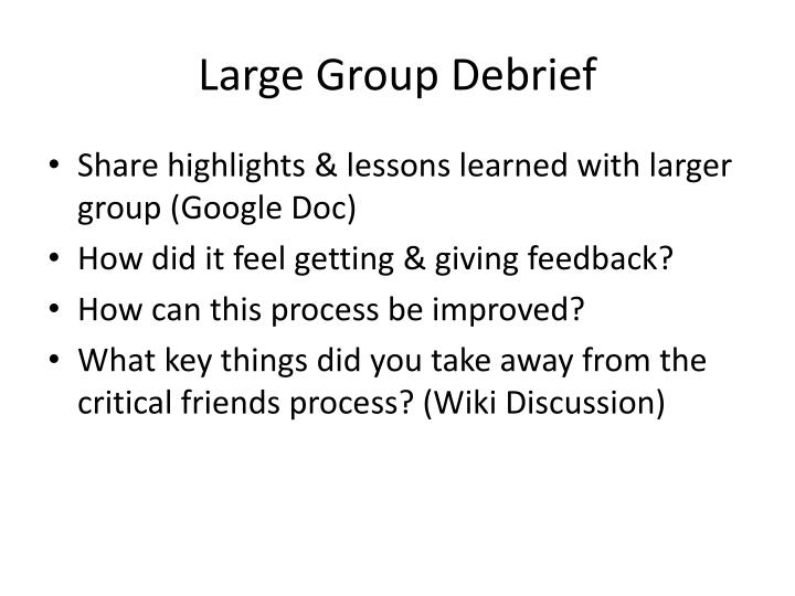 Large Group Debrief
