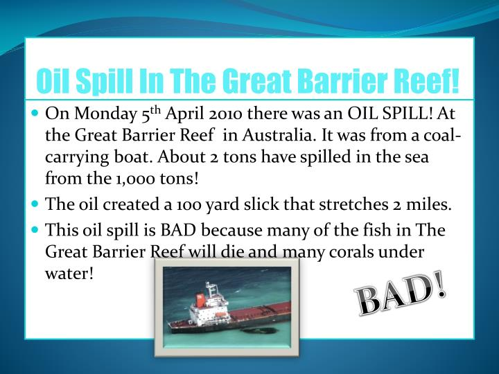 Oil Spill In The Great Barrier Reef!