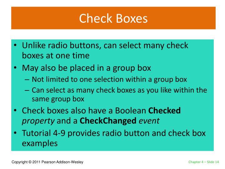 Check Boxes
