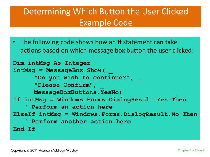Determining Which Button the User Clicked Example Code