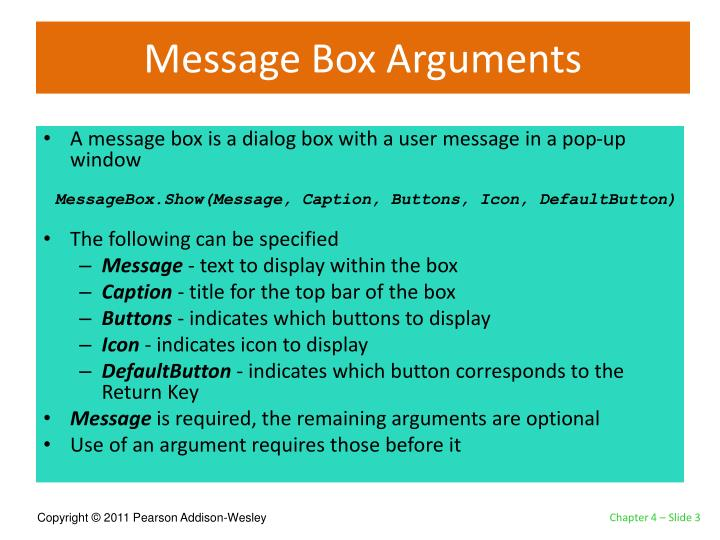 Message box arguments
