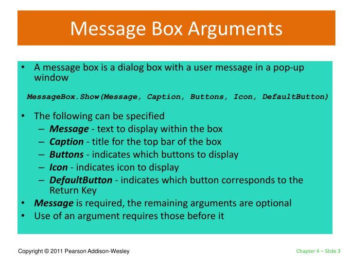 Message Box Arguments