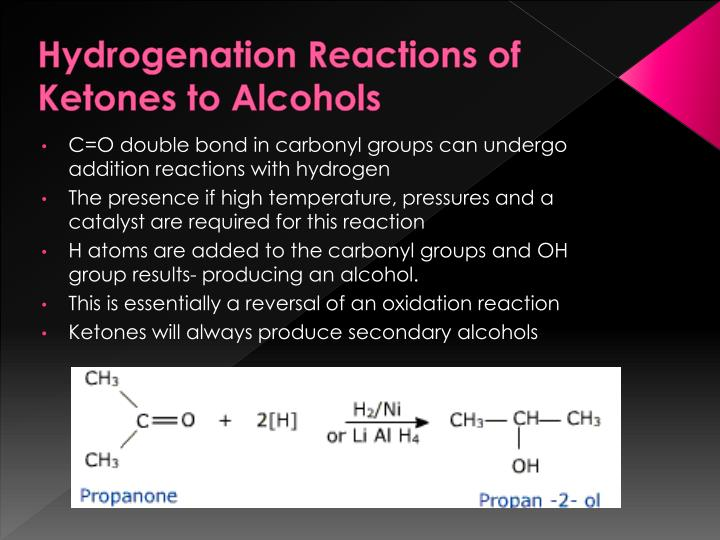 Hydrogenation Reactions of Ketones to Alcohols