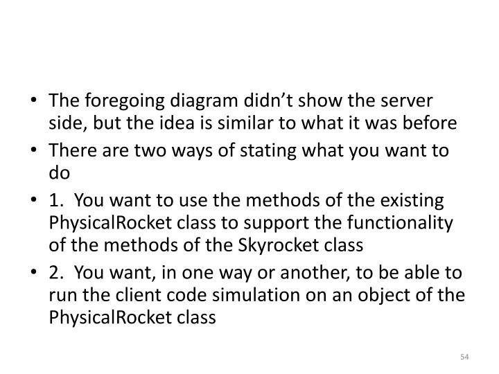 The foregoing diagram didn't show the server side, but the idea is similar to what it was before