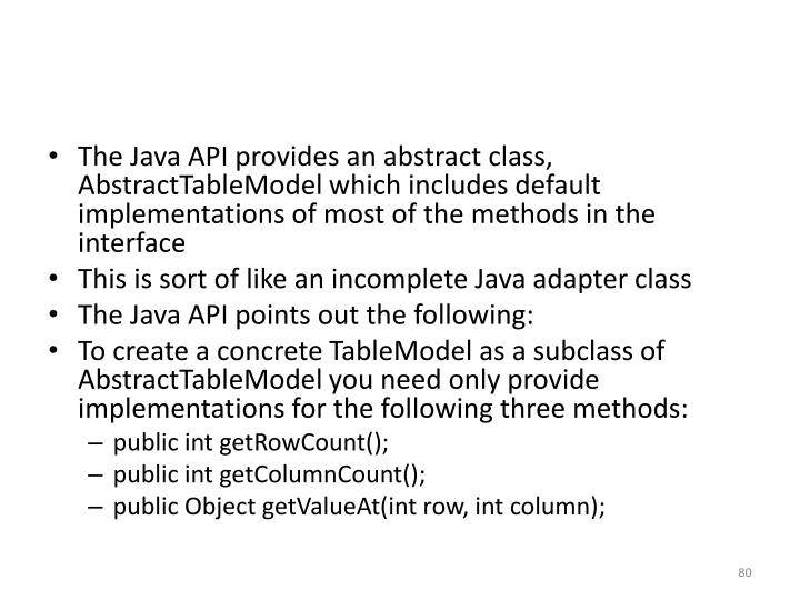 The Java API provides an abstract class,