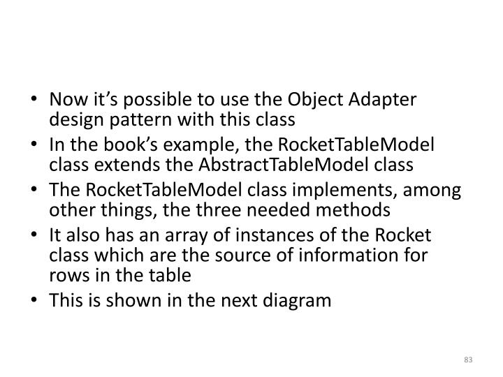 Now it's possible to use the Object Adapter design pattern with this class