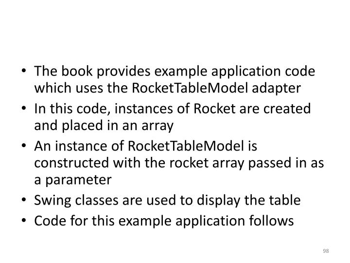 The book provides example application code which uses the