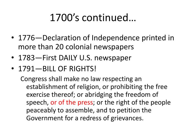 1700's continued…