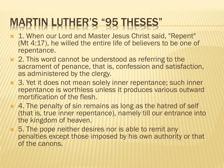 martin luther 95 theses powerpoint The ninety-five theses of martin luther that sparked the protestant reformation, in english and latin with historical information.