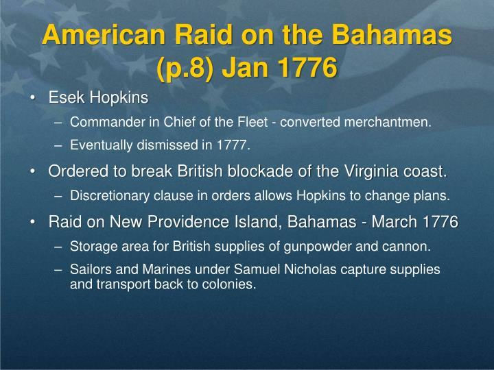 American Raid on the Bahamas (p.8) Jan 1776