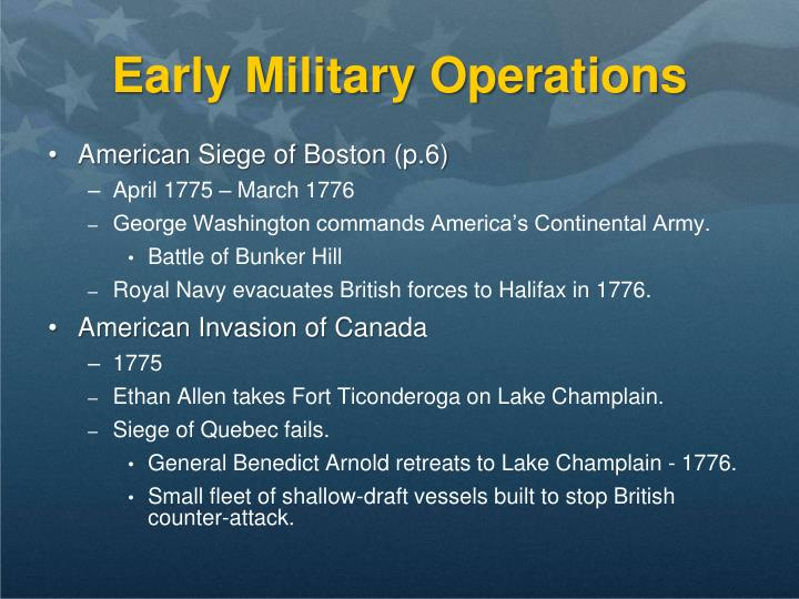 Early Military Operations