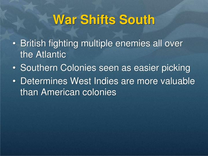War Shifts South