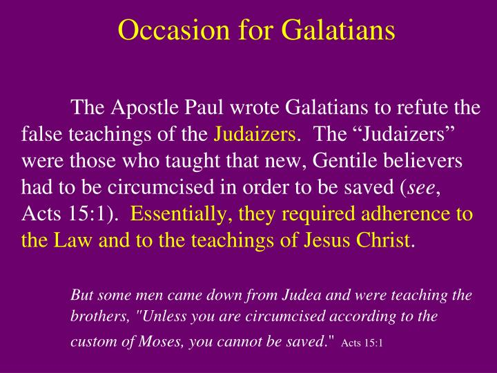 Occasion for Galatians