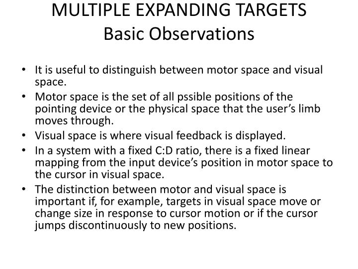 MULTIPLE EXPANDING TARGETS