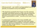 care for god s creation slide 1