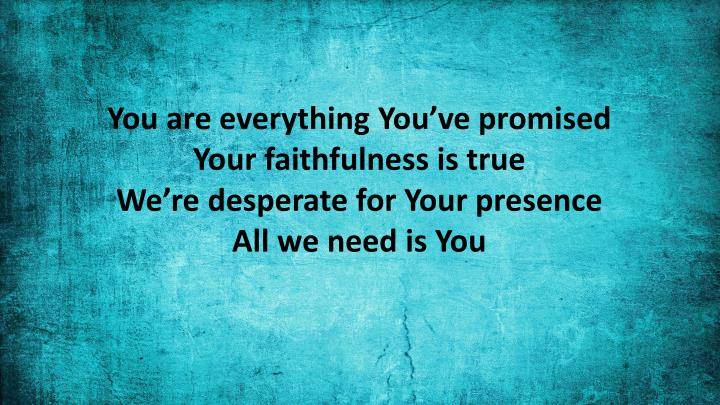 You are everything You've promised
