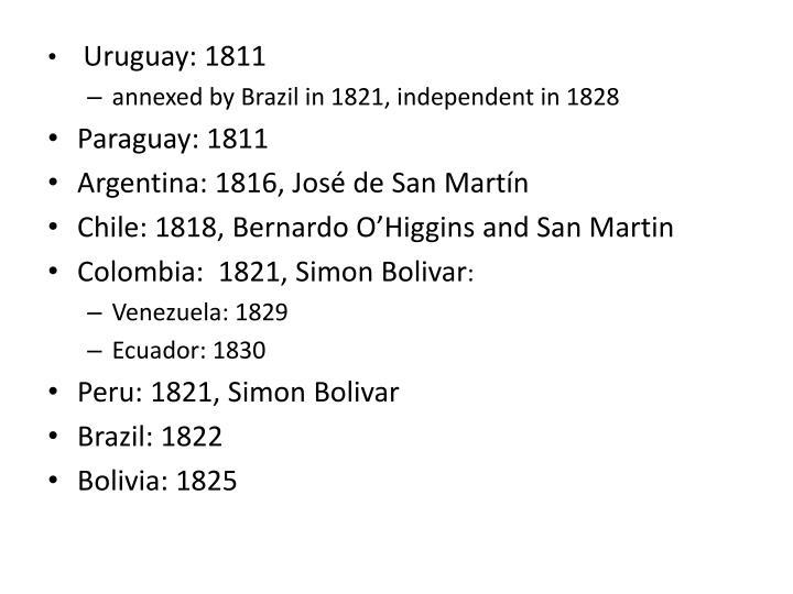 Uruguay: 1811